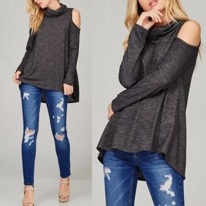 LAYLA Cold Shoulder Top - CHARCOAL