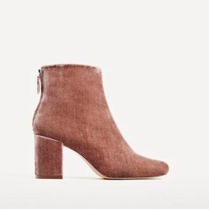Zara Velvet pink ankle boots