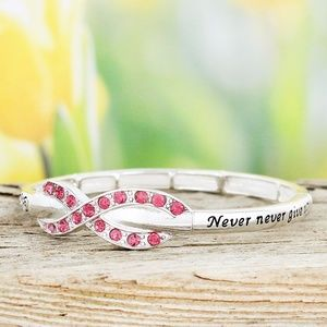 Pink Ribbon 'Never Give Up' Bracelet