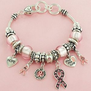 Pink Ribbon Glass Beaded Charm Bracelet