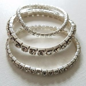 Set of three crystal stretch  bracelets
