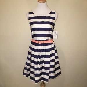 NWT Navy & White Striped Cut Out Fit Flare Dress 7