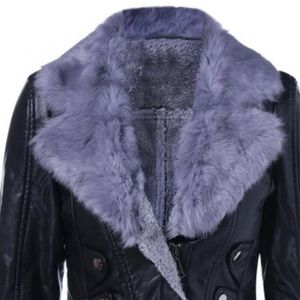 Black leather jacket with grey faux fur