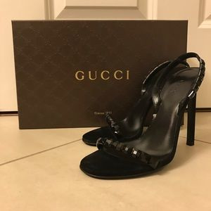 Gucci Mallory Black Crystal Sandals