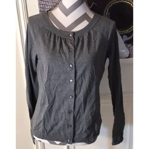 LOFT Gray Long Sleeve Button Up Cardigan