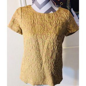 J. Crew Golden & Tan Floral Short Sleeve Blouse