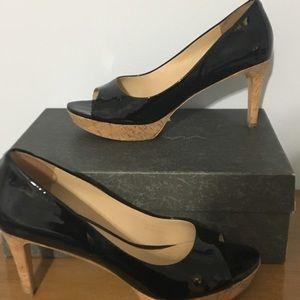 Via Spiga black patent peep toe pumps