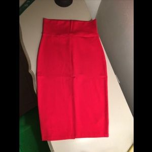Knit Midi Skirt in High Risk Red from Bebe