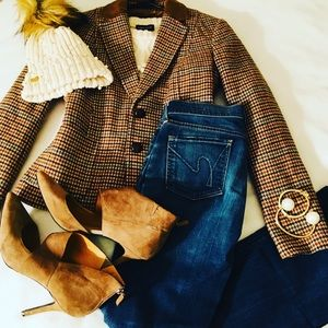 Checkered Blazer with Suede Collar + Elbow Patches