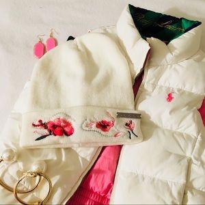 Bebe Cream Floral Wool Beanie Hat