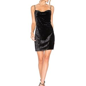 NWT Bardot black velour slip dress.