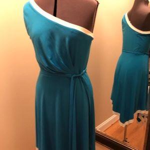 One shoulder dress- blue/white-asymmetrical hem
