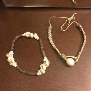 Boho Shell Bracelet and White Pearl Jute Bracelet.