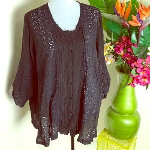 Johnny Was beautifully detailed black top xl