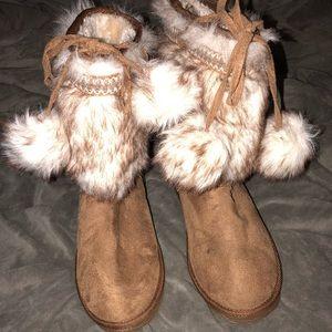 JustFab fur booties
