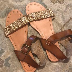 Target sandal Mossimo 9 gold glitter and grommet