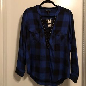 Black and Blue Plaid Lace-up Shirt