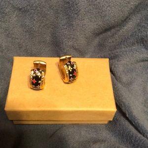 14k Yellow Gold Enamel Painted Earrings