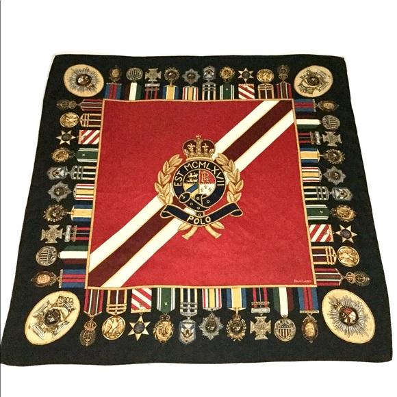 a874384e60c14 Ralph Lauren Polo Rare Vintage Medals Silk Scarf. M 5a1420616d64bc7d130156c2