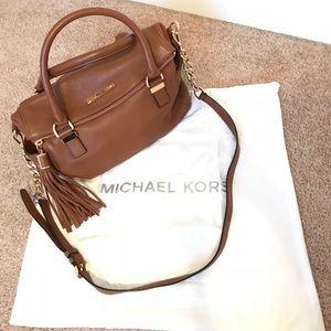 Michael Kors Tassel Handbag In Saddle Brown!