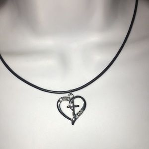 Crystal heart cross pendant on leather cord NWT