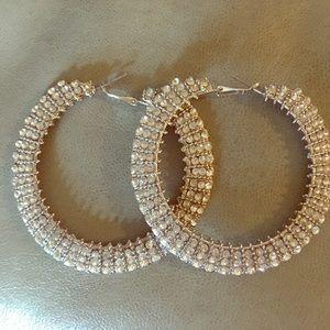 Large diamond simulated hoop earrings