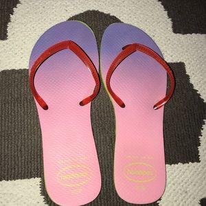 HAVAIANAS pink gradient flip flops SZ 7/8