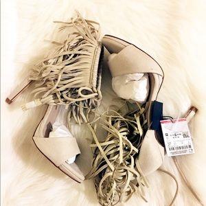 Zara Off White Fringe Heeled Sandal