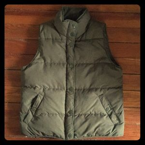 J. Crew olive green puffer vest