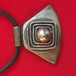 Vintage black cord with metal design necklace