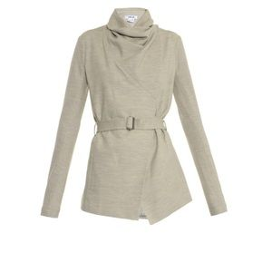 Helmut Lang Sonar Draped Wool Jacket in Gray