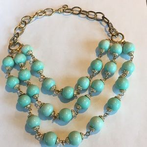 Nordstrom Teal and Gold Statement Necklace