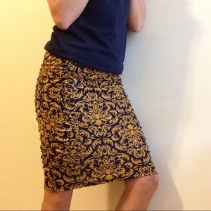 gold & navy pencil skirt • NWOT