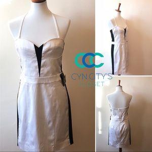New! Bebe strapless black and white dress