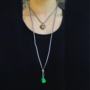 DOUBLE STONE WRAP DROP CHOKER LONG NECKLACE