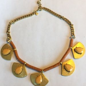 J Crew Gold and Tan Statement Necklace