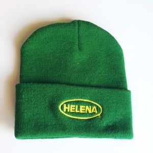 Helena NWOT green and yellow warm thick beanie