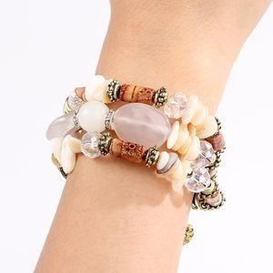 Boho Multilayer Stone Beaded Gold Wrap Bracelet