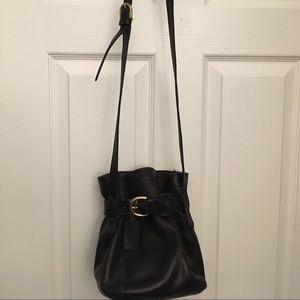 Coach black vintage belted bucket crossbody bag