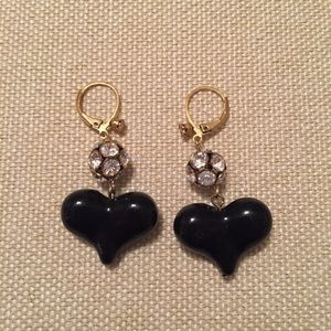 Black Heart Betsey Johnson Earrings