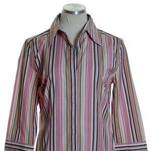 EXPRESS Striped Stretch 3/4 Sleeve Shirt Blouse