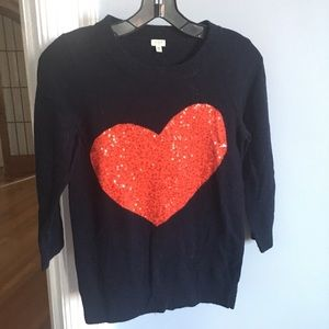 J.crew Factory Sweater with Sequin Heart ❤️
