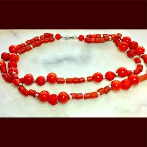 Fossil Red Wood/Clay Beaded Multi-Strand Necklace