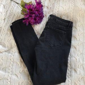 Black distressed look jeans