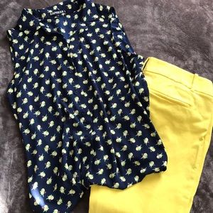 Express Sleeveless Blouse Navy with lemons