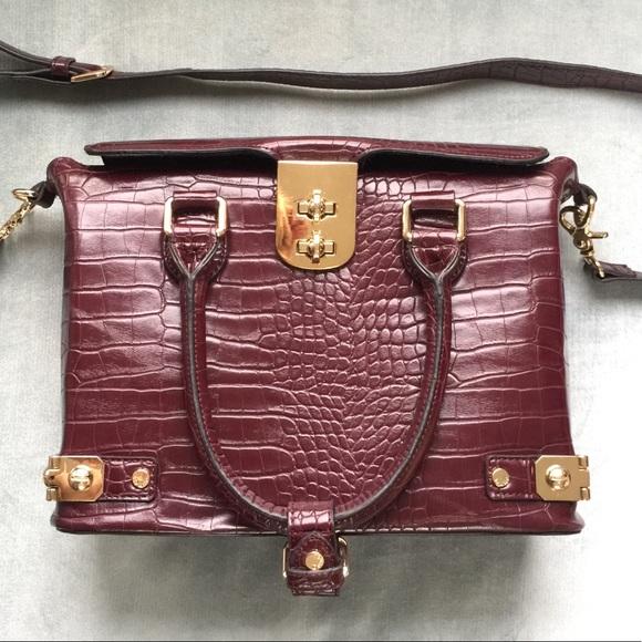 Double Lock Croc Satchel Bag | Poshmark