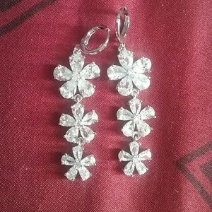 White topaz floral earrings