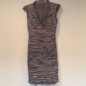 Nicole Miller silver metal bodycon dress