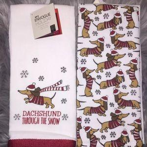 Dachshund Doxie Wiener Sausage dog dish towel set