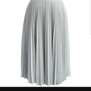 Calvin Klein Pleated Knee Length Skirt Grey